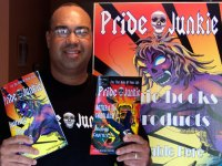 Bruce with his comic book series Pride Junkie