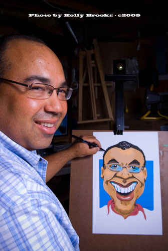 Bruce with caricature
