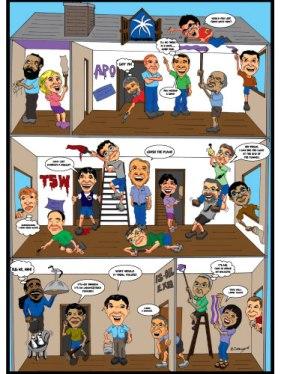 Team Building Theme Caricature