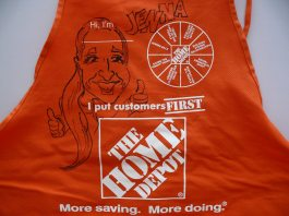 Home Depot Apron Caricatured