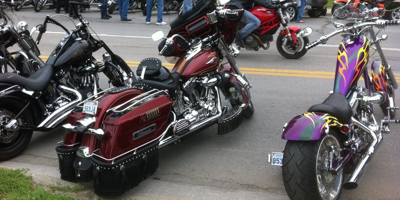 bikes lining the street