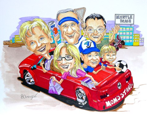 Family Group Caricature