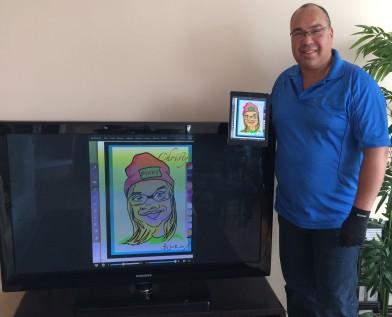 Bruce with ipad caricature