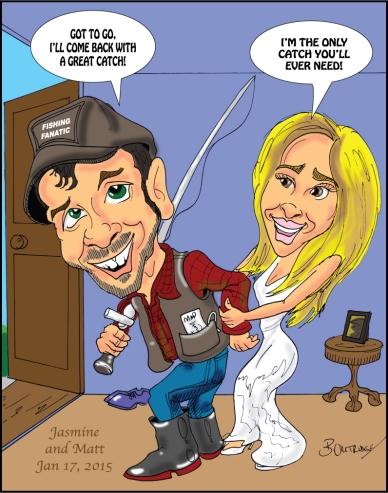 Jasmine and Matt caricature