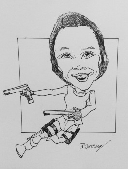 Karen as Lara Croft Caricature