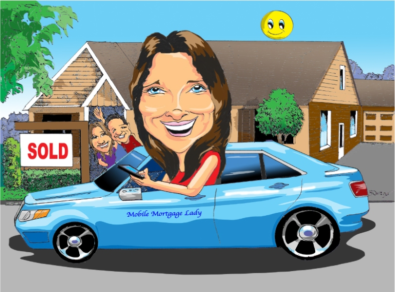 Mobile Mortgage Lady caricature