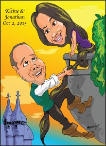 Wedding gift caricature