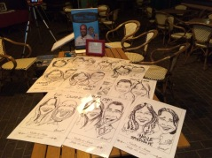 caricatures on table