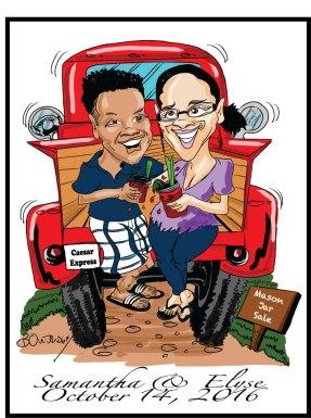 Elyse and Sam's Wedding Caricature