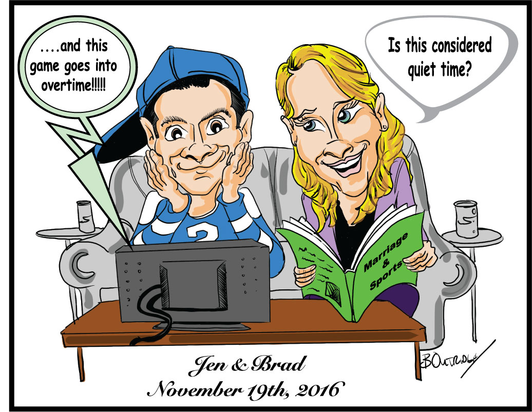 Jen and Brad's caricature