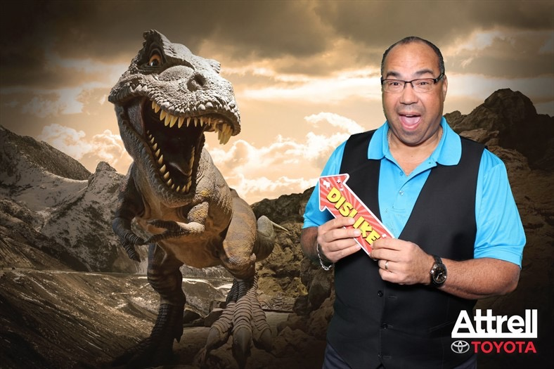 bruce with dinosaur