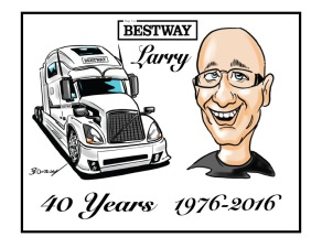 Truck gift caricature by Bruce Outridge