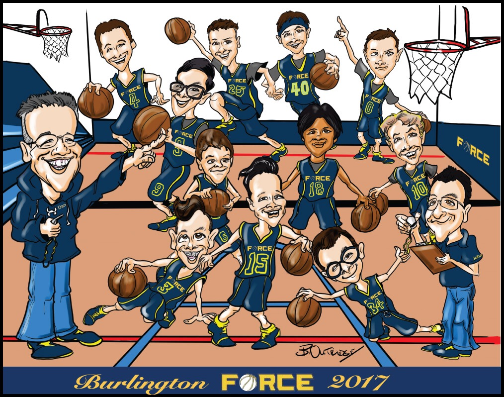 Burlington Force Group Caricature