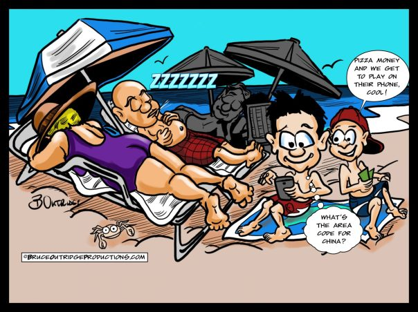 A Day at the Beach Cartoon