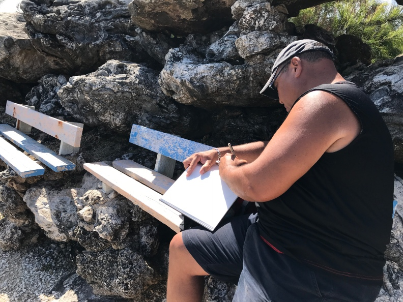 Bruce Sketching at Animal Flower Cave