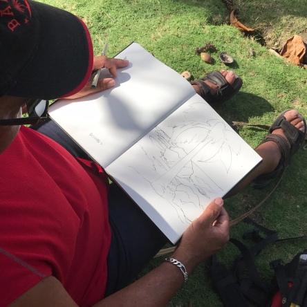 Bruce sketching Bathsheba