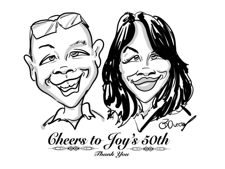 Joys party caricatures