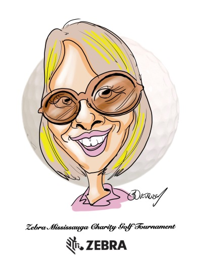 Zebra Charity Golf Tournament Digital Caricature