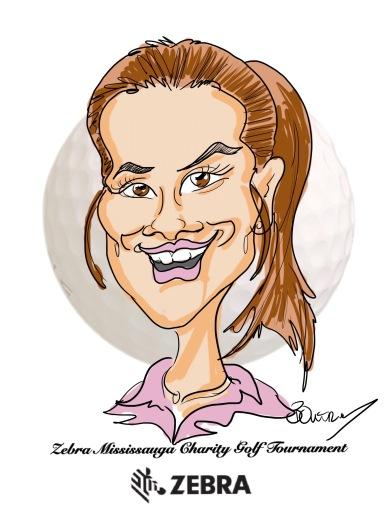 Zebra Charity Golf Tournament Digital Caricature