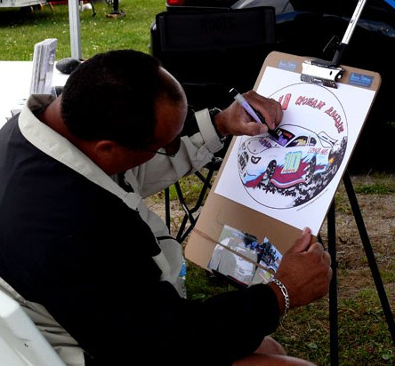 Bruce drawing a race car