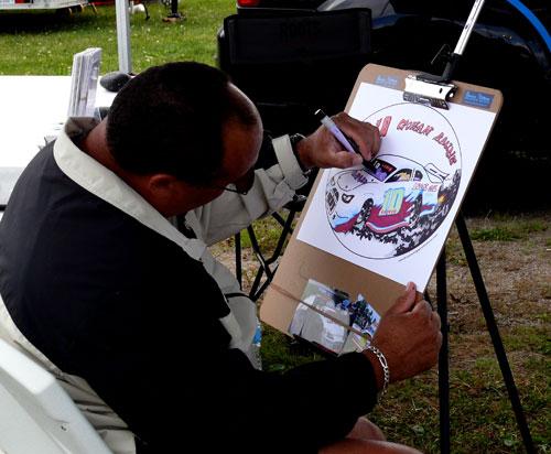Bruce drawing a race car