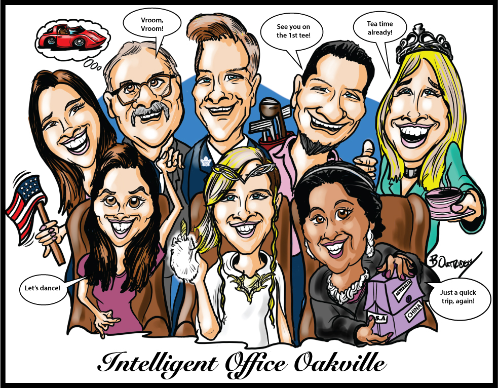 Caricaturing the Team with a Gift Caricature