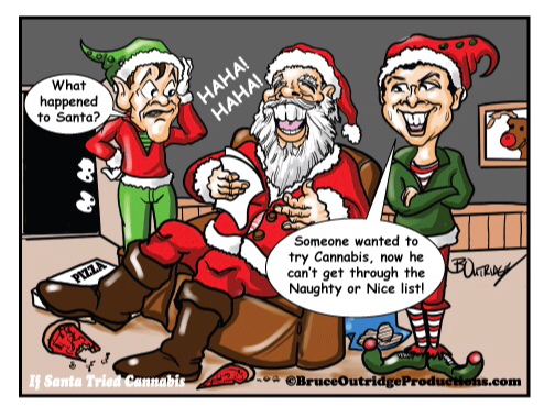 Santa checking his naughty List cartoon