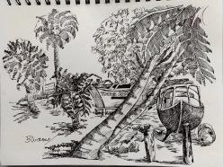 Oistins Sketch 1 by Bruce Outridge