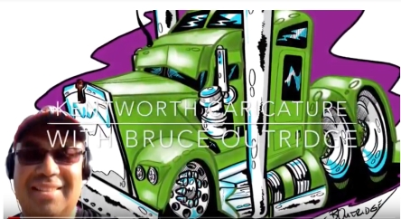 green kenworth vehicle caricature