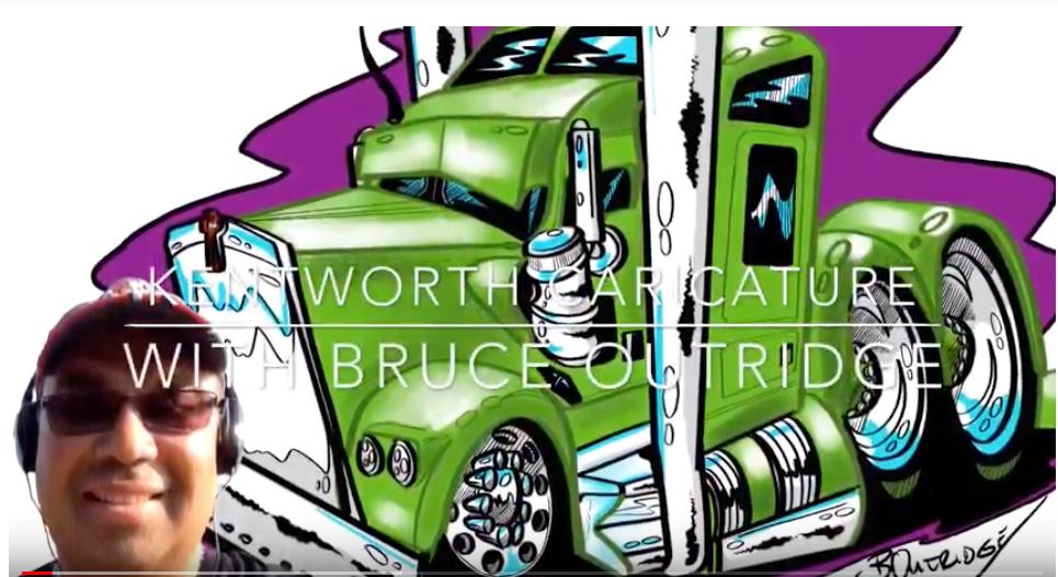 green kenworth vehicle caricature
