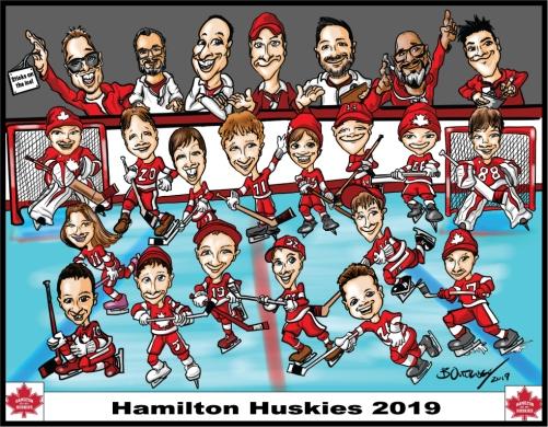 Hamilton-Huskies-2019-Group-Caricature