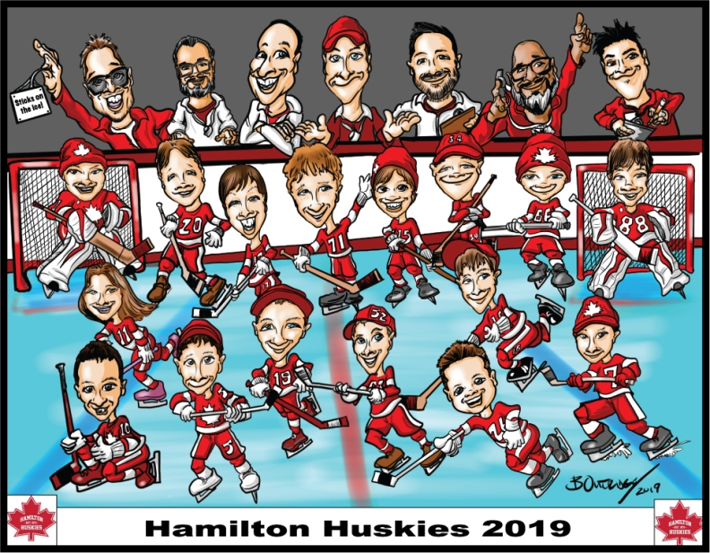 Hamilton-Huskies-2019-Group-Caricature
