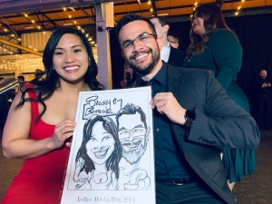 Text Now Christmas party caricatures 2019