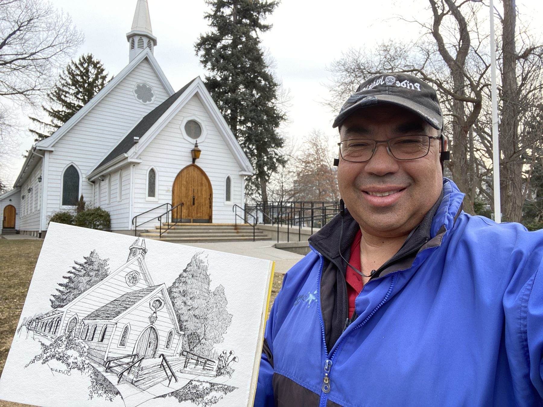 Artist Bruce Outridge Draws St. Luke Church